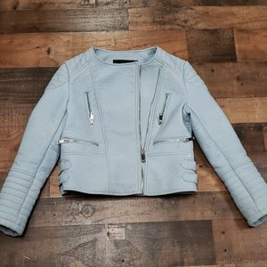 Zara Basic Baby Blue Jacket Sz L